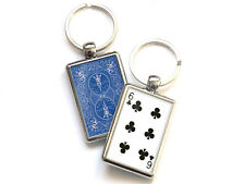 Six of Clubs Playing Card Chrome Keyring Picture Both Sides Choose a Design