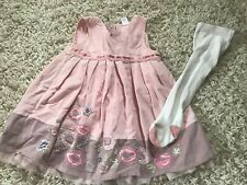 Girls NEXT lined Dress & tights age 9-12 Months Vgc