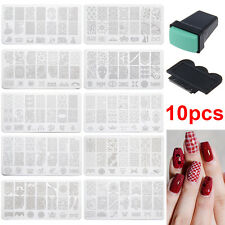 10 pcs Ongle Nail Art Manicure Plaque Sticker Pochoir timbre stamper Autocollant