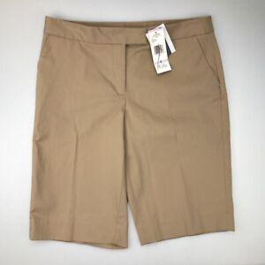 Jones New York Signature Womens Chino Shorts Brown Stretch Pockets Bermuda 6 New