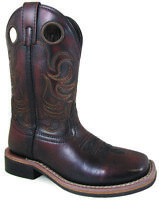 Smoky Mountain Kids Landry Western Cowboy Boots Stitch Leather Square Toe Brown