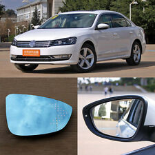 Rearview Mirror Blue Glasses LED Turn Signal with Power Heating For VW Passat