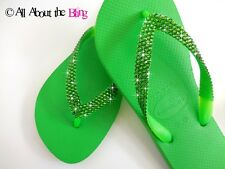 Crystal flip flops Havaianas or wedge sandal with SWAROVSKI Lime Green crystals