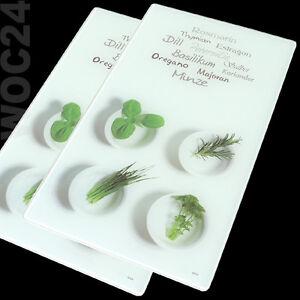 2x Herdabdeckplatten Ceranfeld Glas Herdabdeckung Schneidebrett Kräuter