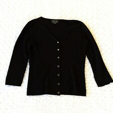 Spencer Jeremy Womens Black 3/4 Sleeve Button Silk Blend Sweater Cardigan Small