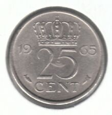 Netherlands 25 Cents 1965 Nickel Coin - Queen Juliana