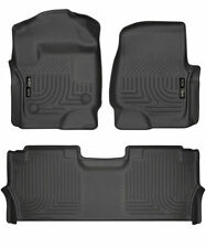 Husky Liners 2017-19 Ford F250 F350 F450 Crew Floor Mat Set Weatherbeater BLACK