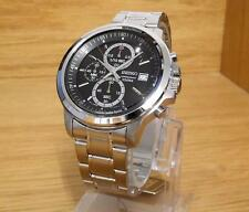 Mens Stainless Steel Bracelet Black Dial Seiko 100m Chronograph Watch 4T57 NEW