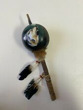 Hand Painted Dance Gourd Rattle ,Ceremonial ,Santa Fe Style ,Natural , Wolf ,A
