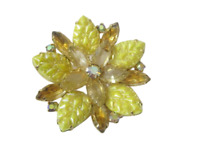 Vintage Brooch  AB Rhinestone Yellow Iridescent Molded Glass Flower Gold Tone