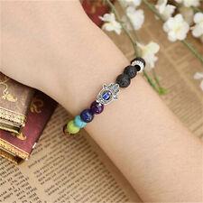 UK Lava Stone Chakra Crystal GEMSTONE Bead Bracelet. Reiki Healing