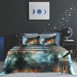 4pcs Bed Sheet Bedding Set Flat Fitted Sheet With Pillow Case Green Queen
