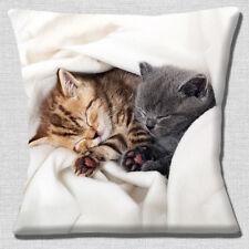 Two Cute Kittens Cushion Cover 16x16 inch 40cm Tabby and Grey Cuddling Sleeping