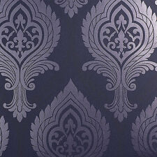 Tapete, Designtapete, Ornamente, jeansblau, flieder, glitzernd, Luxus, edel