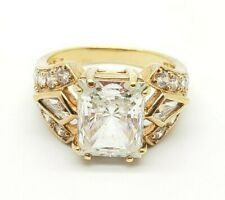 925 Sterling Silver Gold Plated Engagement Cubic Zirconia Ring Size 7.5