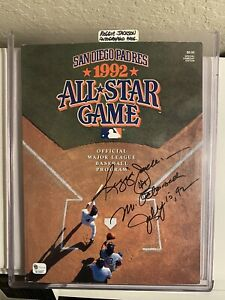 1992  MLB All-Star Game Program Autographed Inscribed & Dated By Reggie Jackson