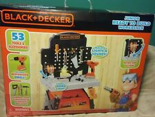 BLACK AND DECKER JUNIOR READY TO BUILD WORK BENCH LIGHTS SOUNDS 53 TOOLS