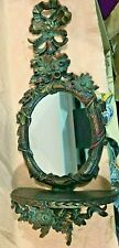 """Syroco Style Floral Wall Mirror Console Shelf Table Euro Marchi Italy 23.5"""""""