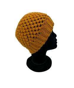 Messy Bun Beanie Ponytail Hat Handmade Ladies One Size Crochet Puff Stitch