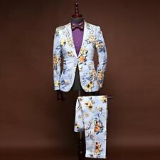2PCS Mens Floral Printed Suits Formal Dress Coat Pants Party Prom Jackets  M-4XL