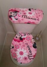 Disney Minnie Mouse Face Flower Fleece Fabric Toilet Seat Cover Set