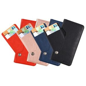 For LG Stylo 5 Magnetic Leather Wallet Case w/ Card-Holder & Tempered Glass