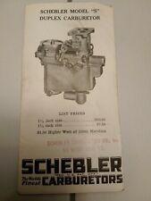 Vintage Antique Schebler Carburetors Advertisement Brochure Package Outfits 1933