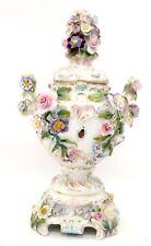 Antique ERNST BOHNE & SOHNE Small 3D Floral PORCELAIN Twin Handled URN - F25