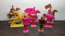 Vintage Set 8 Toy Soldiers Knights Russian Bogatyrs Plastic Soviet USSR A