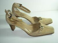 WOMENS TAN BONE SUEDE CLOSED TOE PUMPS ANKLE STRAP HIGH HEELS SHOES SIZE 6.5 M