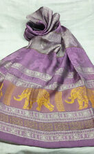 Colorful Thai Silk Scarf Shawl Pashmina Purple Gold silver Elephant for gift New