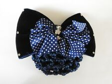 blue velvet bow crystal hair net barrette cover bun clip air host dance office
