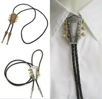 Guitar Bolo Ties Western Cowboy Music theme Leather Necktie Bootlace Tie