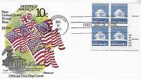 U.S. 1973 JEFFERSON MEMORIAL 10c #1510 Plate# Block4 on Fleetwood FDC Cachet U/A