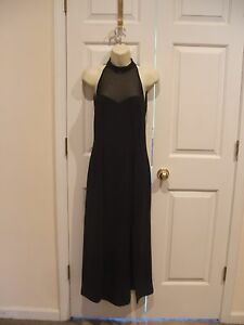 new in pkg black sheer bodice party formal occassion long gown dress med 8-10