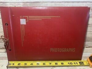 VTG RED LEATHER PHOTO ALBUM ART DECO SILK CORD GREAT CONDITION