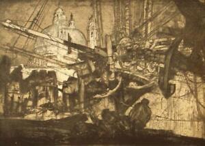 Frank Brangwyn etching gravure print; Santa Maria, Venice, 1925