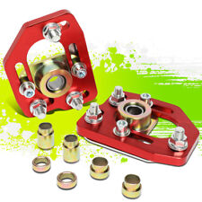 FOR 90-93 FORD MUSTANG FRONT 2PCS ALUMINUM ADJUSTABLE CAMBER/CASTER PLATES RED