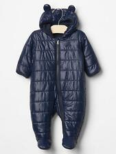 GAP Baby Boy Size 0-3 Months Navy Blue Footed Bear Puffer Coat / Snowsuit w/Ears