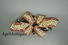 Vintage Coro Duette red clear rhinestones black enamel fur clip Brooch