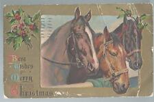 1908 Best Wishes For Christmas Embossed Postcard Equestrian Theme 3 Horses