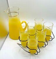 Vintage Blendo Beverage Set Lemon Yellow With Serving Caddy Pitcher & 6 Glasses