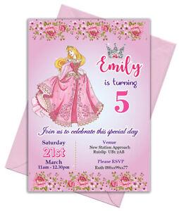 12 Personalised  A6 Princess Birthday Party Invitations Invites Free Envelopes