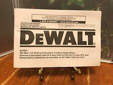 "DEWALT DCF887 20V 20 Volt 1/4"" 3 Speed lithium Ion Impact Driver Owners Manual"