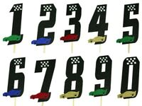 "RACING Theme Cake Topper 5.5"" GLITTER Birthday Age Choose Number & Car Color"