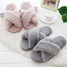 Women Girl Fluffy Slippers Winter Shoes Flat Home Slippers Indoor Soft Flip Flop