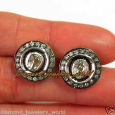 Vintage Estate 1.39ct Real Rose Antique Cut Diamond Jewelry Silver Studs Earring