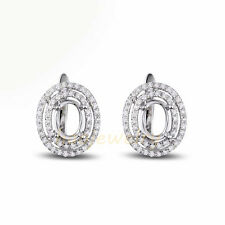 5x7mm Oval Solid 14K White Gold Natural Diamond Semi Mount Earring Settings