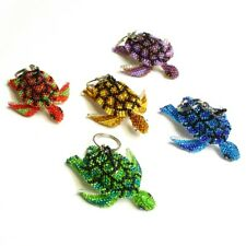 Sea Turtle Key Rings Chain Glass Artisan Beads Lot Wholesale Six Pack Assorted