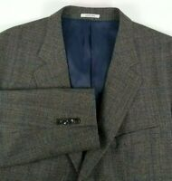 Peter Millar Mens Sport Coat Size 46 Regular Gray with Blue Windowpane Plaid